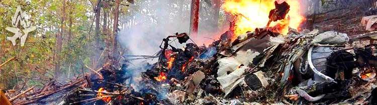 Упавший самолёт Сессна полностью сгорел